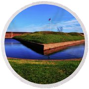 Fort Pulaski Moat - Demilune Wall 001 Round Beach Towel by George Bostian