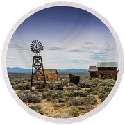Fort Rock Museum Round Beach Towel