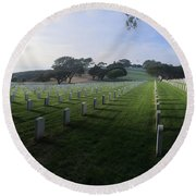 Round Beach Towel featuring the photograph Fort Rosecrans National Cemetery by Lynn Geoffroy