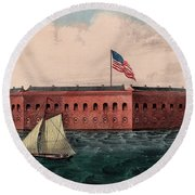 Fort Sumter, Charleston Harbor, South Carolina Round Beach Towel
