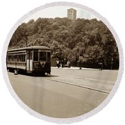 Fort Tryon Trolley Round Beach Towel