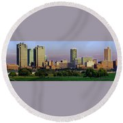 Round Beach Towel featuring the photograph Fort Worth Colorful Sunset by Jonathan Davison