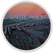 Fort Worth Trainyards Round Beach Towel