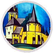 Fortified Medieval Church In Transylvania By Dora Hathazi Mendes Round Beach Towel by Dora Hathazi Mendes
