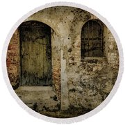 Round Beach Towel featuring the photograph Corfu, Greece - Fortress Door by Mark Forte