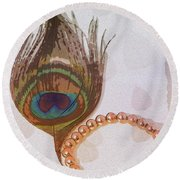 Fortune Assets Of Lord Krishna Round Beach Towel
