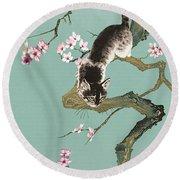 Fortune Cat In Cherry Tree Round Beach Towel