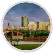 Fortworth Texas Cityscape Round Beach Towel
