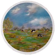 Round Beach Towel featuring the painting Forty Acres by Judith Rhue