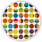 Forty Nine Circles Round Beach Towel by Michelle Calkins