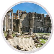 Round Beach Towel featuring the photograph Forum Of Augustus by Scott Carruthers