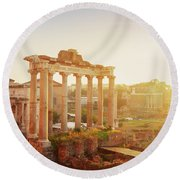 Forum - Roman Ruins In Rome At Sunrise Round Beach Towel