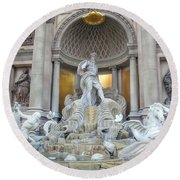 Forum Shops Statues At Ceasars Palace Round Beach Towel