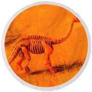 Fossilised Exhibit In Toy Dinosaurs Round Beach Towel
