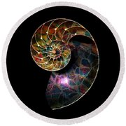 Round Beach Towel featuring the digital art Fossilized Nautilus Shell by Klara Acel