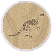 Fossils Of A Dinosaur Round Beach Towel