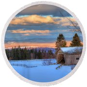 Round Beach Towel featuring the photograph Foster Covered Bridge - Cabot, Vermont by Joann Vitali
