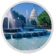 Fountain And Us Capitol Building Round Beach Towel