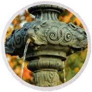 Round Beach Towel featuring the photograph Fountain At Union Park by Chris Berry