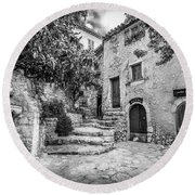 Fountain Courtyard In Eze, France 2, Blk White Round Beach Towel