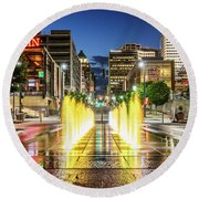 Fountain Fun In The Queen City Round Beach Towel