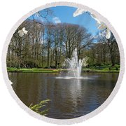 Fountain In Park Round Beach Towel