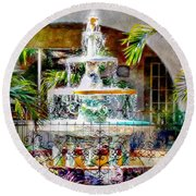 Fountain Of Water Round Beach Towel
