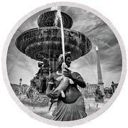 Round Beach Towel featuring the photograph Fountain On Place De La Concorde - Paris by Barry O Carroll