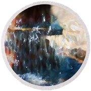 Round Beach Towel featuring the digital art Fountain Pleasure by Margie Chapman
