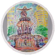 Round Beach Towel featuring the painting Fountain Square  Cincinnati  Ohio by Diane Pape