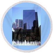 Fountain View Round Beach Towel