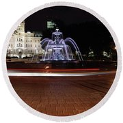 Fountaine De Tourny And Quebec Parliament Round Beach Towel