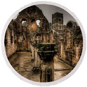 Fountains Abbey In Pouring Rain Round Beach Towel
