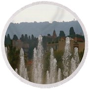 Fountains At Dawn Round Beach Towel