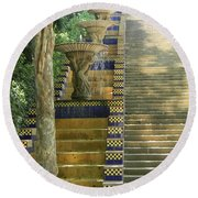 Fountains At Montjuic Round Beach Towel