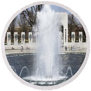 Fountains At The World War II Memorial In Washington Dc Round Beach Towel