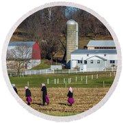 Four Amish Women In Field Round Beach Towel
