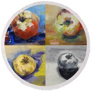 Four Apples A Day Round Beach Towel