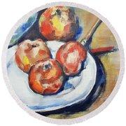 Four Apples And A Knife Cezanne Interpretation Round Beach Towel