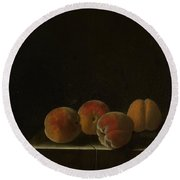 Four Apricots On A Stone Plinth Round Beach Towel