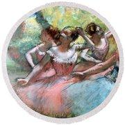 Four Ballerinas On The Stage Round Beach Towel