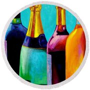 Four Bottles Round Beach Towel