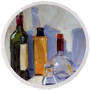 Round Beach Towel featuring the painting Four Bottles by Nancy Merkle