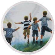 Four Brothers Leaping Round Beach Towel