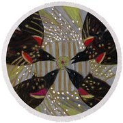 Round Beach Towel featuring the painting Four Calling Birds by Denise Weaver Ross