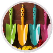 Four Colored Trowels  Round Beach Towel
