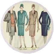 Four Flappers Modelling French Designer Outfits, 1928 Round Beach Towel