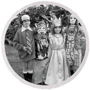 Four Girls In Halloween Costumes, 1971, Part One Round Beach Towel