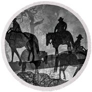 Four Horsemen Black And White Round Beach Towel
