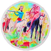 Four Horsemen Round Beach Towel